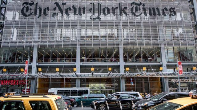Фасад редакции New York Times в Нью-Йорке (2017 год)