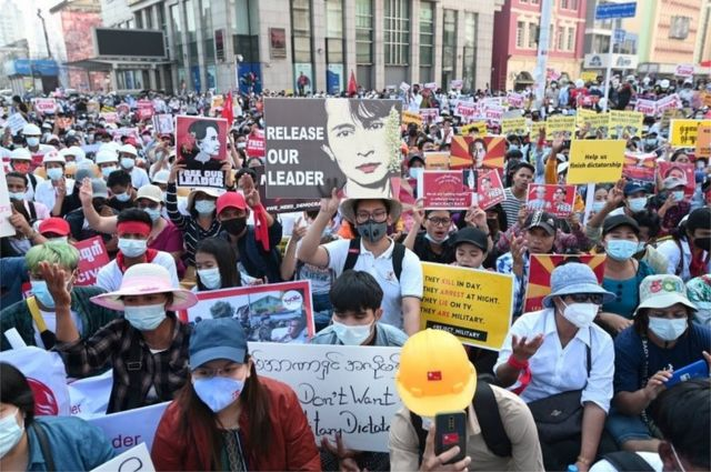 Demonstrators protest against the military coup in Yangon, Myanmar, February 17, 2021