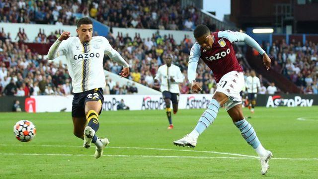 Leon Bailey scores for Aston Villa against Everton