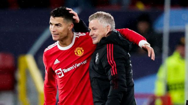 Manchester United's Cristiano Ronaldo and Ole Gunnar Solskjaer