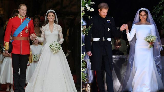 The Duke and Duchess of Cambridge on their wedding day (l) alongside Prince Harry and Meghan Markle (r)