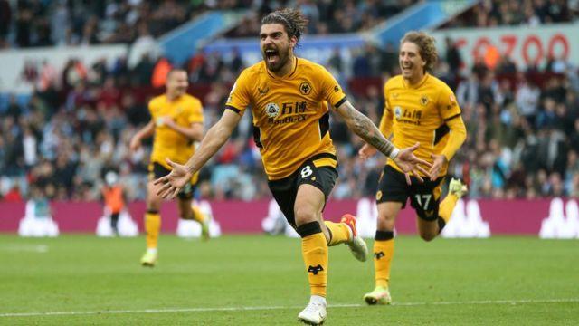 Ruben Neves celebrates v Aston Villa