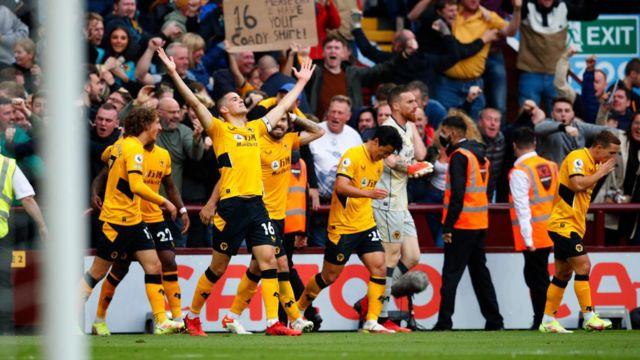 Conor Coady celebrates after scoring equaliser against Aston Villa