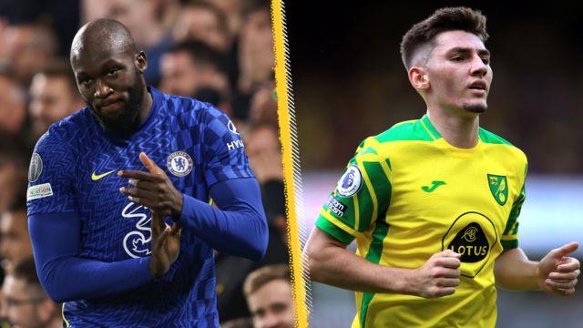 Chelsea's Romelu Lukaku and on-loan Norwich midfielder Billy Gilmour
