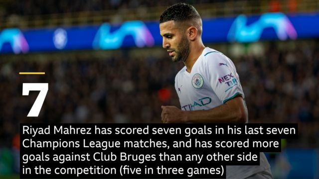 Riyad Mahrez has scored seven goals in his last seven Champions League matches, and has scored more goals against Club Bruges than any other side in the competition (five in three games)