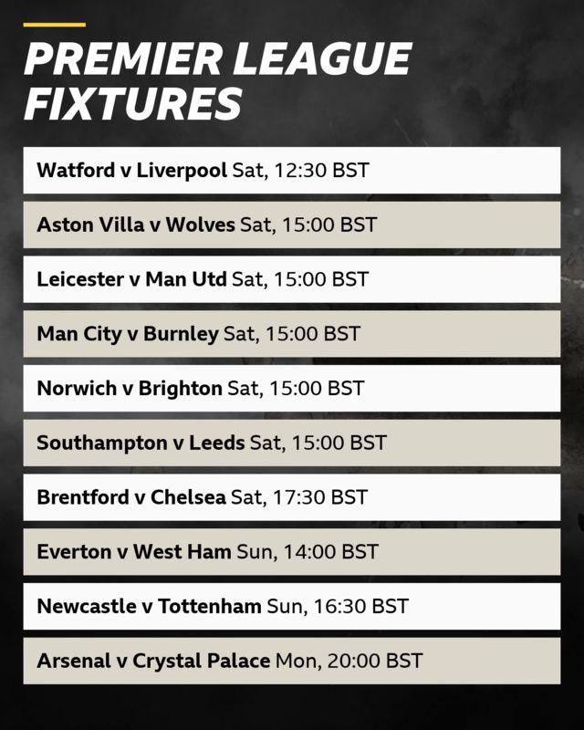 Premier League fixtures: Saturday - Watford v Liverpool (12:30 BST), Aston Villa v Wolves, Leicester v Man Utd, Man City v Burnley, Norwich v Brighton, Southampton v Leeds (all 15:00 BST), Brentford v Chelsea (17:30 BST). Sunday: Everton v West Ham (14:00), Newcastle v Tottenham (16:30). Monday: Arsenal v Crystal Palace (20:00 BST)