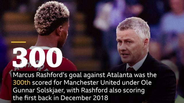 Marcus Rashford's goal against Atalanta was the 300th scored for Manchester United under Ole Gunnar Solskjaer, with Rashford also scoring the first back in December 2018 