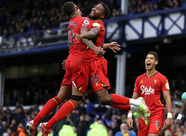 Emmanuel Dennis leapt in celebration after scoring Watford's fifth as Claudio Ranieri's side ran in four goals from the 78th minute onwards
