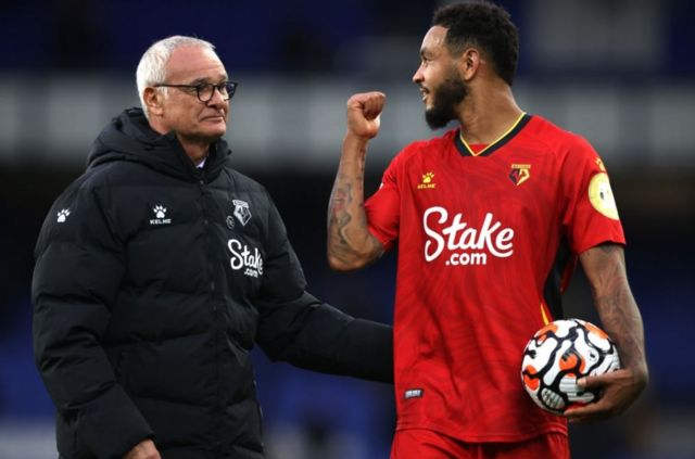 Ranieri embraced Joshua King after he left the field with the match ball courtesy of his hat-trick
