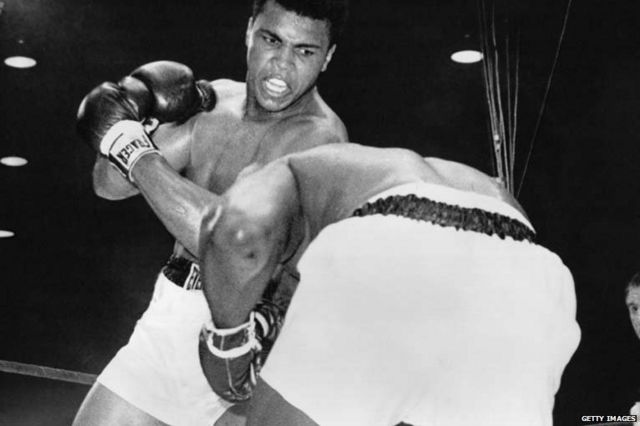 Muhammad Ali, then known as Cassius Clay, and Sonny Liston