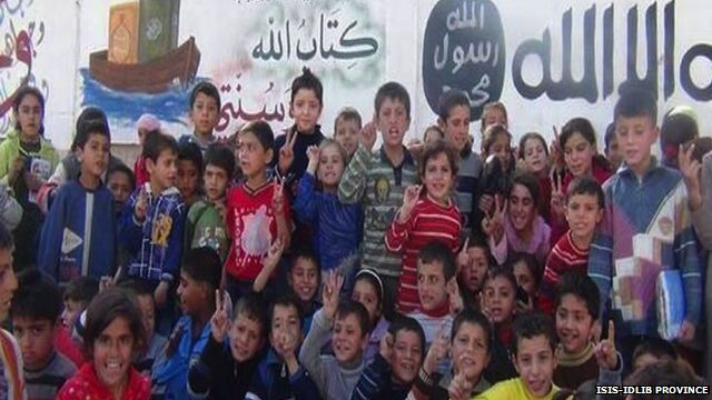 """An ISIS """"faith-strengthening"""" event for children in one of the group's strongholds in Aleppo province"""