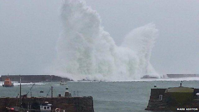 Waves crash in Alderney