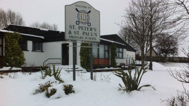 Some schools have remained open despite the snow, such as St Peter's & St Paul's in Foreglen, near Dungiven.