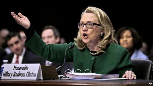 Hillary Rodham akihojiwa na kamati ya bunge Capitol Hill, Washington kuhusu shambulio la Benghazi, Libya 23 Januari 2013