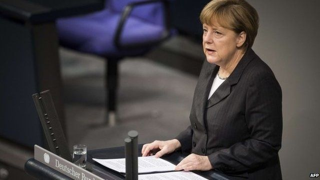 Angela Merkel addressing Bundestag on 15 January 2015