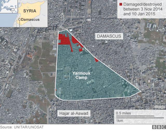 ヤルムーク難民キャンプの位置図