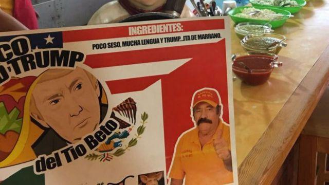 Cartel para anunciar el taco Donald Trump hecho en México