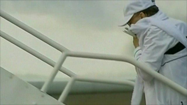 Abdel Baset Al Megrahi boarding plane in Scotland