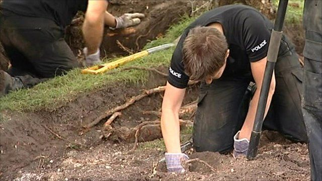 Police have been digging in two Brighton gardens