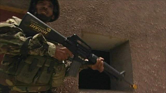 Afghan soldier on training exercise