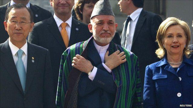 Ban Ki-moon, Hamid Karzai and Hillary Clinton