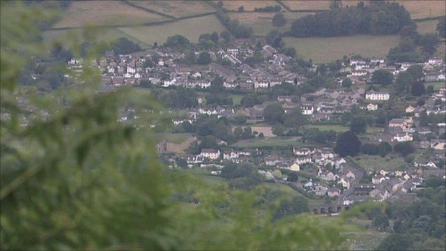 Welsh valley with housing