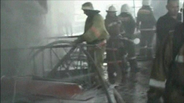 Emergency workers inside the power plant