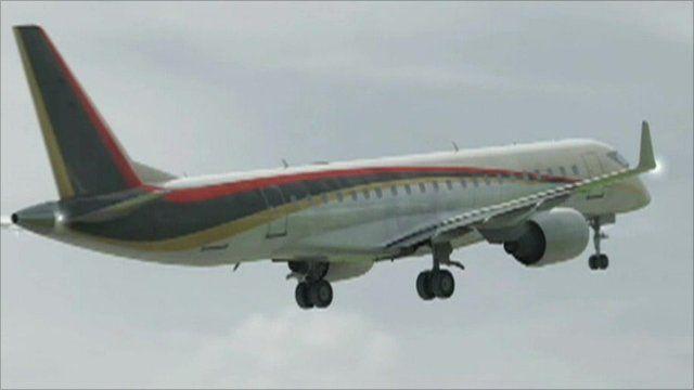 A computer image of the Mitsubishi aircraft