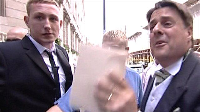 Nick Griffin (right) with his invitation
