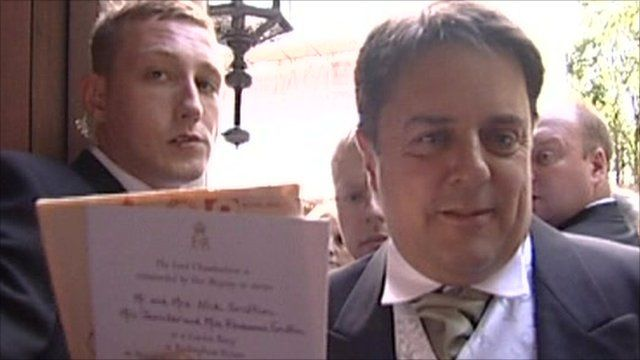 Nick Griffin with Buckingham Palace garden party invite