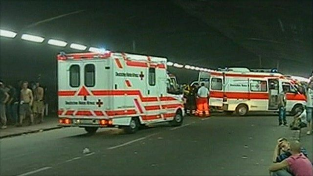 Ambulances at the scene of the stampede