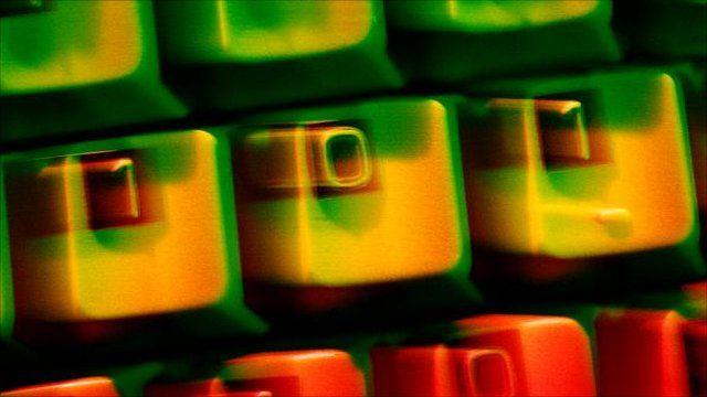 A keyboard with binary code