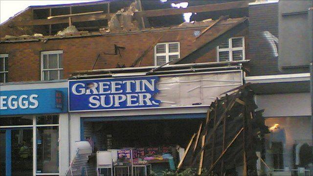 Shops damaged in Birmingham tornado in 2005