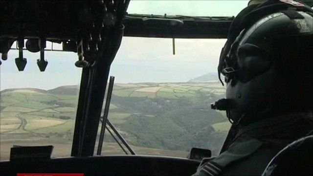 View through helicopter cockpit window