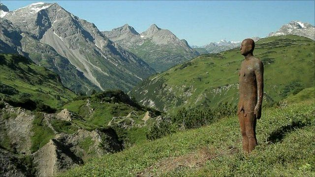 One of Antony Gormley's figures in the Austrian Alps