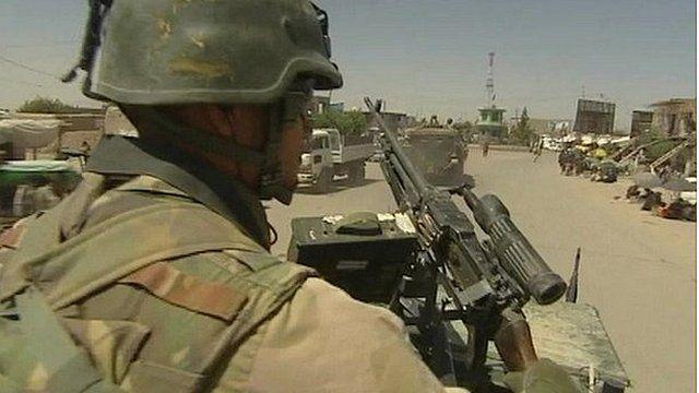 Dutch soldier on patrol in Afghanistan