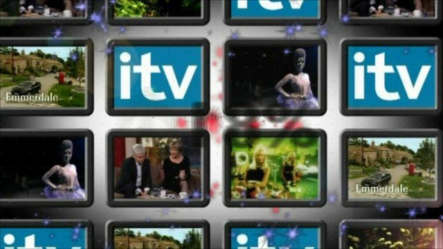 Screens showing ITV logo and programmes