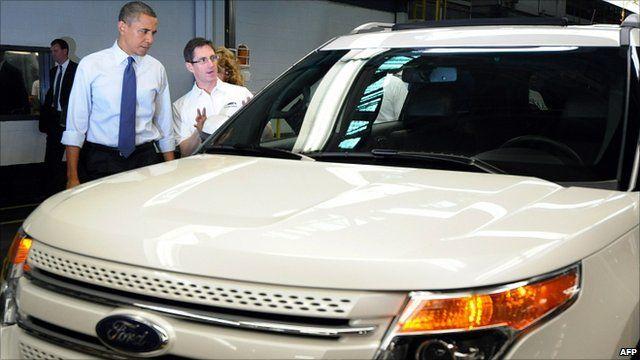 President Obama visiting Chicago's Ford plant