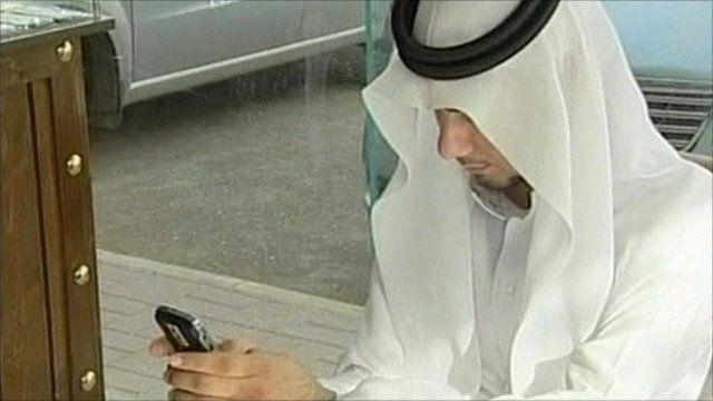 Man using Blackberry