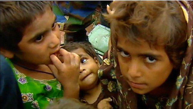 Children are rescued in Pakistan's southern province of Sindh.