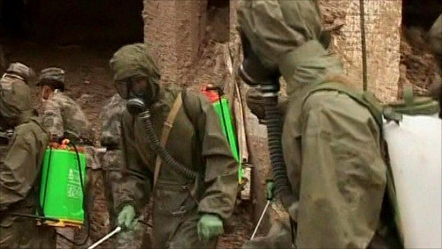 Troops carry out disinfection work