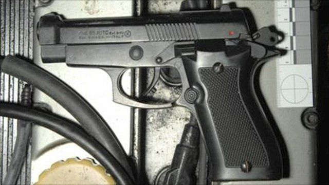 One of the recovered firearms