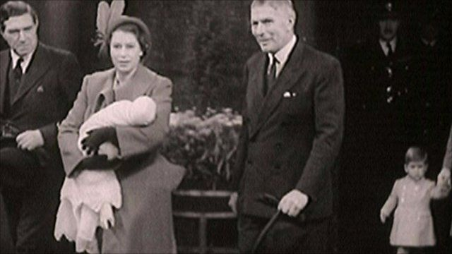 Princess Elizabeth carrying Princess Anne in 1950
