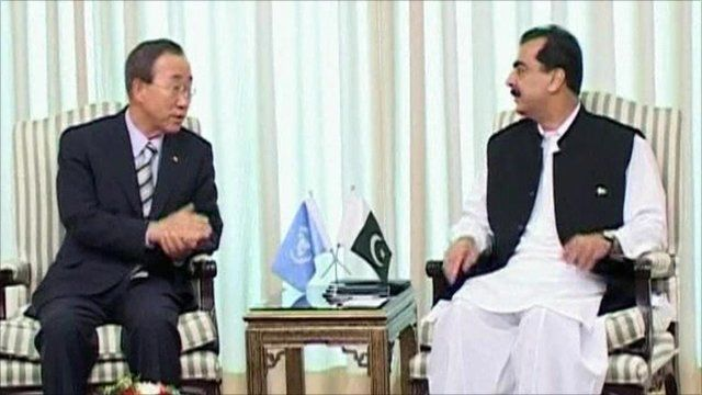 UN Secretary General Ban Ki-moon and PM Yusuf Raza Gilani