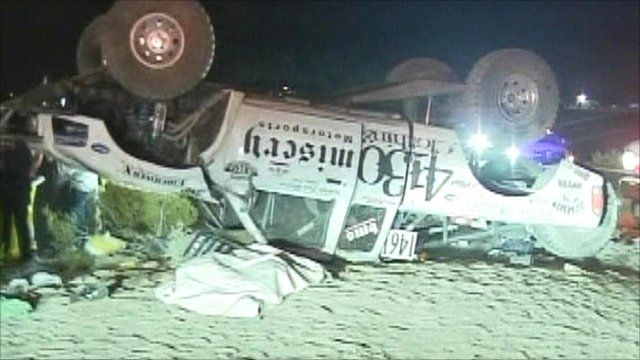 Upturned vehicle at off-road race