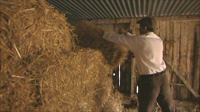 Farmer John Jordan in his hay loft