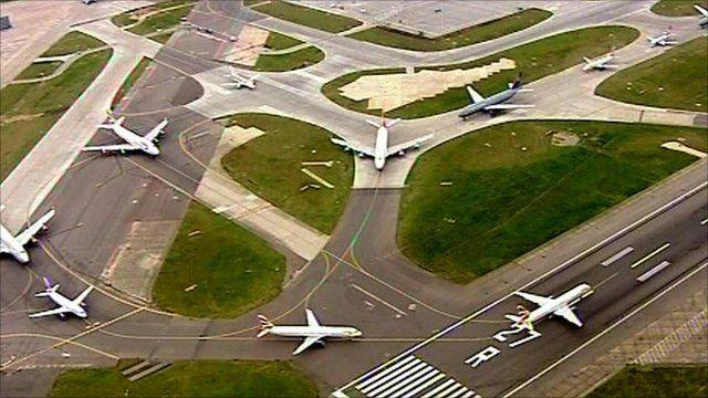 Aircraft waiting for the runway