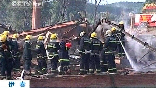 Firefighters at fireworks factory