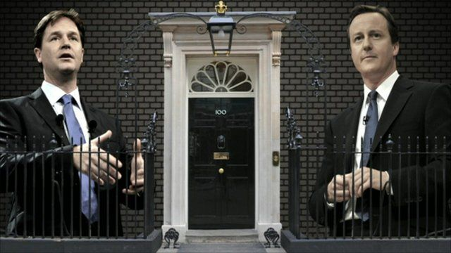 Nick Clegg and David Cameron outside Number 10
