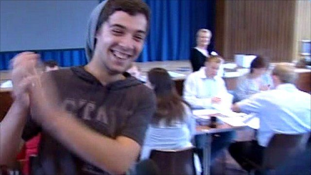 Gareth Lewis finds out his A-level grades